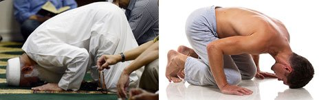 A Muslim man praying and a yoga pose