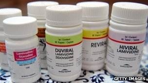 Bottles of antiretroviral pills