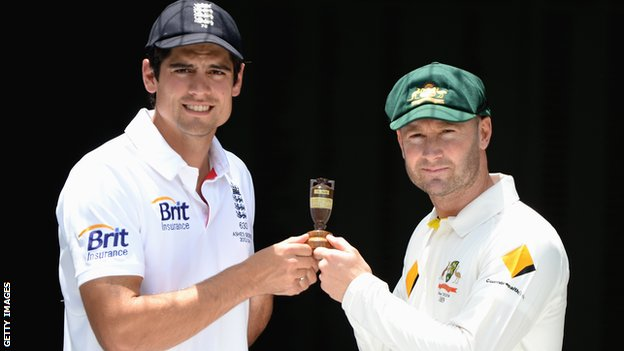 England captain Alastair Cook and Australia skipper Michael Clarke with the Ashes urn