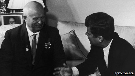 Nikita Khrushchev with John F Kennedy in Vienna, 1961