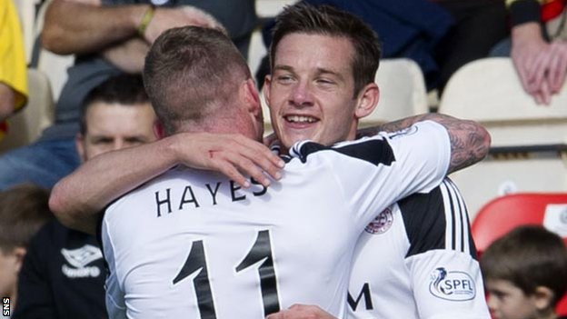 Johnny Hayes and Peter Pawlett celebrate