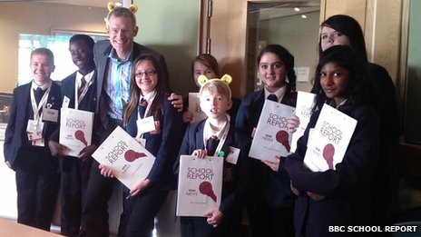 Radio 2 presenter Jeremy Vine with School Reporters from Northwood School in his studio