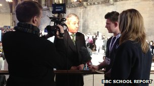 Holbrook Academy School Reporters interviewing John Bercow, the House of Commons Speaker