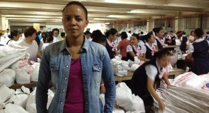 Leah in Cebu with volunteers packing supplies for victims of Typhoon Haiyan