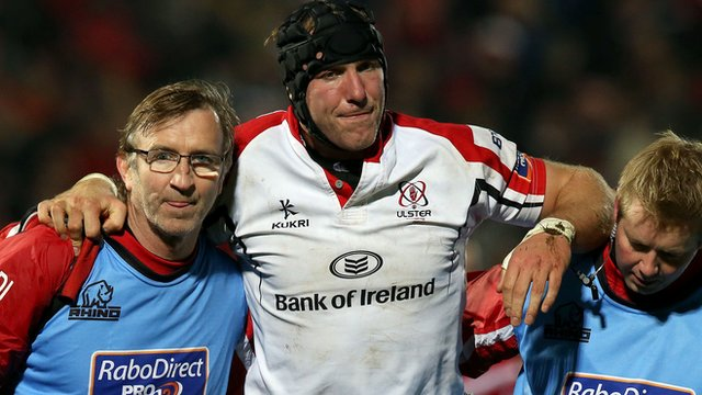 Stephen Ferris is helped off the pitch after injuring an ankle in November 2012