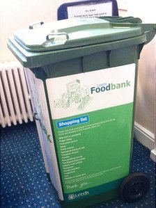 A wheelie bin for food collection