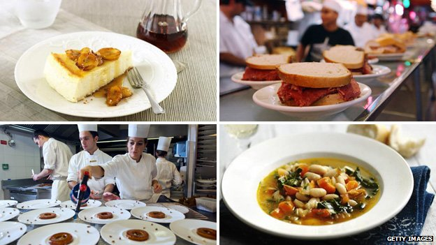 (Clockwise from top left) cheesecake; deli sandwiches; chefs serve French food on white plates; bean soup