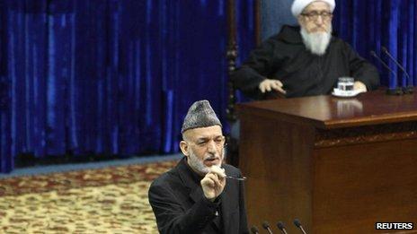 Hamid Karzai at Loya Jirga gathering, Kabul, 21 Nov