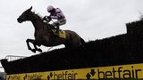 A horse jumping a fence at the Betfair Chase, Haydock