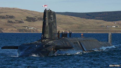 A nuclear submarine in Faslane