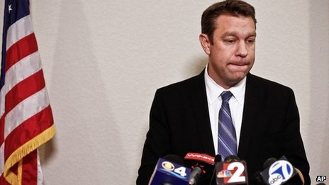 "Henry ""Trey"" Radel pauses as he meets with local media during a news conference at his district office in Cape Coral, Florida, on 20 November 2013"
