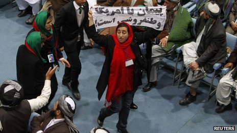 Protester at Loya Jirga gathering, Kabul, 21 Nov