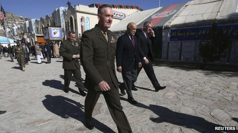 Isaf commander General Joseph Dunford at the Loya Jirga gathering, Kabul, 21 Nov