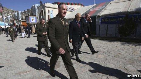 Isaf commander General Joseph Dunford at the Loya Jirga gathering, Kabul, 21 Nov