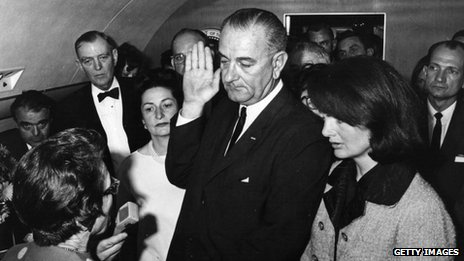 Lyndon B Johnson is sworn in as president hours after JFK's death