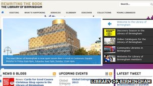 Library of Birmingham website front page