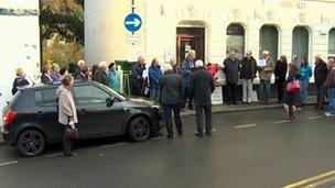 Protest outside HSBC, Llangollen