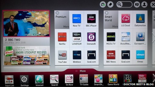 LG user interface