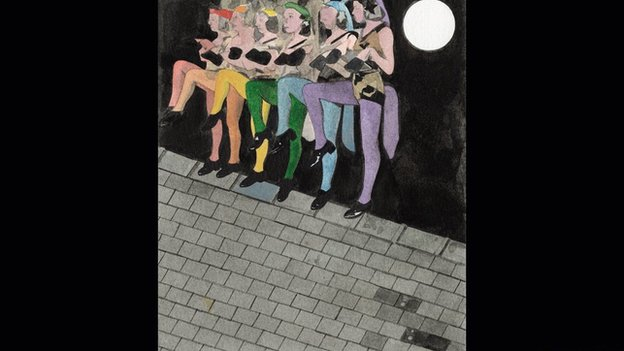 Women's Welfare hoofing, bloomered, in the moon. Pic courtesy of Sir Peter Blake