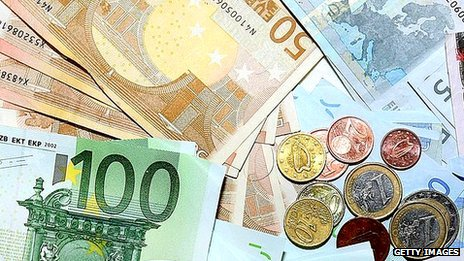 Euros in cash and coins