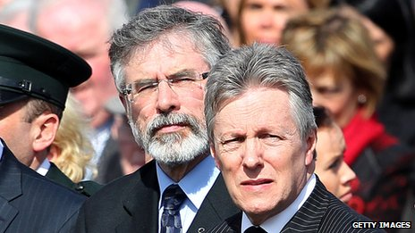 Sinn Fein's Gerry Adams and the DUP's Peter Robinson