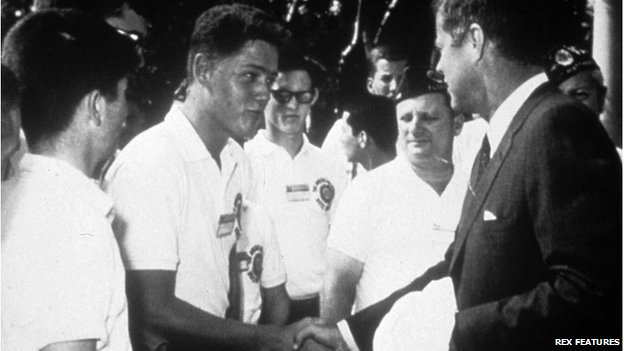 Future US President Bill Clinton shakes hands with President John F Kennedy, 1963