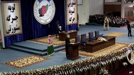 Hamid Karzai at Loya Jirga, 21 Nov