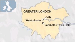 Map showing Lambeth Town Hall