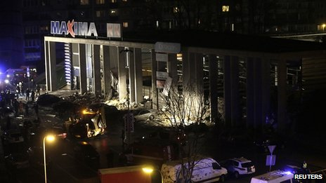 Scene of supermarket collapse in Riga. 21 Nov 2013