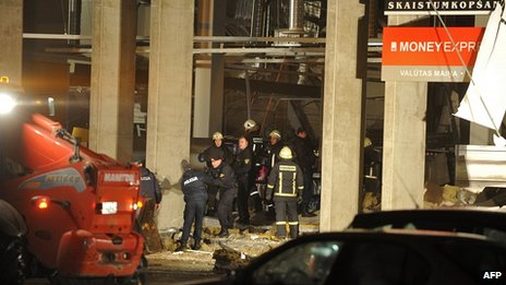 Injured brought from supermarket collapse in Riga. 21 Nov 2013