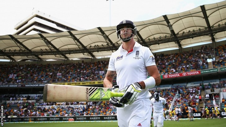 Kevin Pietersen walks out in his 100th Test