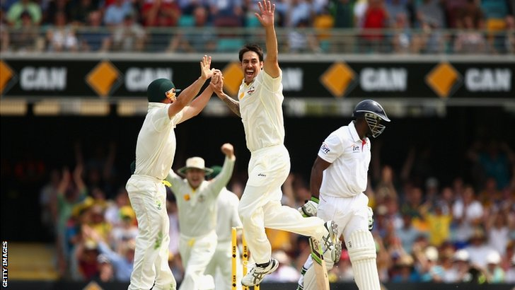 Mitchell Johnson celebrates
