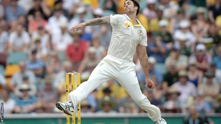 Mitchell Johnson racing in to bowl in the first Test