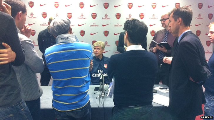 Arsene Wenger addresses the media