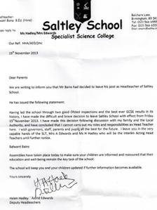Saltley School letter