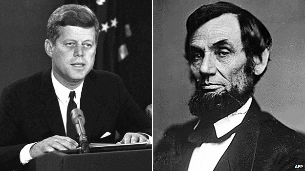 John F Kennedy and Abraham Lincoln