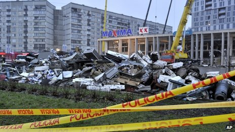 Scene of supermarket collapse in Riga. 22 Nov 2013