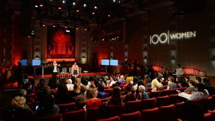 The 100 Women conference opens at the BBC Radio Theatre in Broadcasting House in London