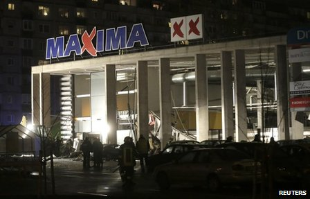 The Maxima store where the roof collapsed in Riga