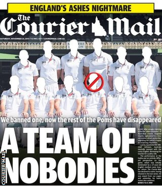 Saturday's front page of the Courier Mail mocks England