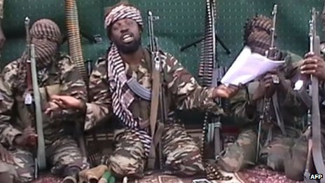 The Boko Haram leader with a paper in his hand - Nigeria