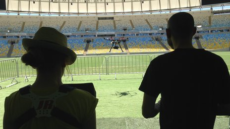 Hexacopter takes from a stadium in Brazil