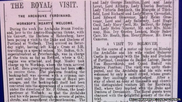 Newspaper cutting of the visit