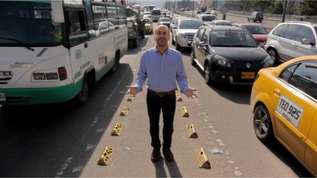 Hernando Alvarez in Bogota traffic jam