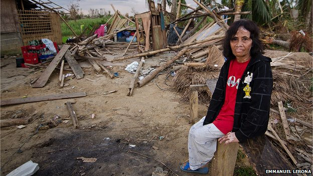 The house of Ninfa Blanca, 57-year old, was wiped out by the typhoon. The neighbours have already started rebuilding their houses. But Ninfa is unable to start rebuilding her house as she has no man to help her.