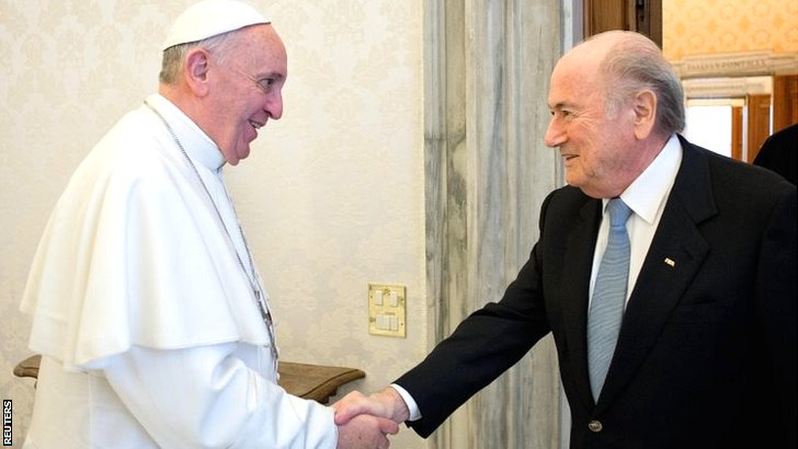 Pope Francis meets Sepp Blatter
