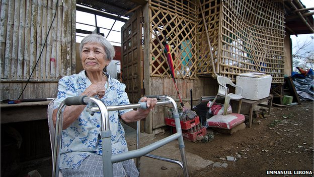 Corazon Barsanas, 91-year old, had to stay with her family inside their house when Haiyan ripped off the roof of their house. Corazon says she never imagined she would be able to brave a storm as strong as Haiyan.