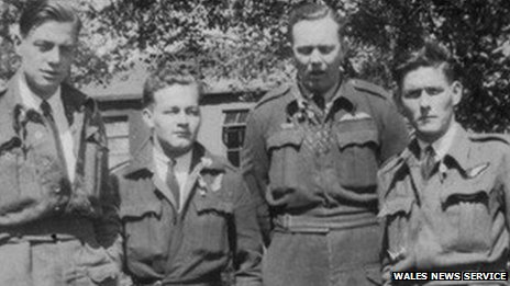 Four members of the crew - from left to right:-  Sgt. John Phillips, Flight Sgt. Douglas Tresidder, Flight Sgt. Robert Naffin and Sgt. David Morgan Ellis