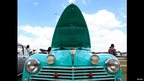 A 1959 Peugeot 203 with its bonnet raised, Nairobi, Kenya - Sunday 17 November 2013