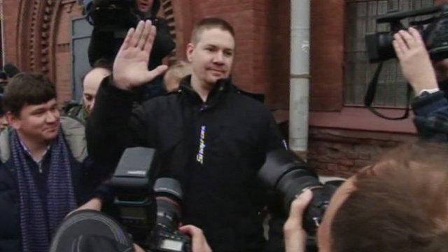 Anthony Perrett on his release in St Petersburg